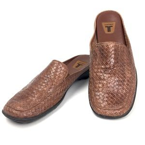 Trotters Woven Leather Slide On Mules